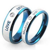 TITANIUM RING Cincin Couple Size 7(F) & 8(M) [GS257] - White and Blue & White and Blue - Cincin